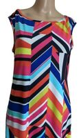 Trina Turk Womens Sleeveless Multicolor Geometric Stretch Shift Dress Size Small