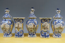 Antique Dutch Delft 5-Piece Octagonal Garniture Mills/Ships/Anglers 19TH C.