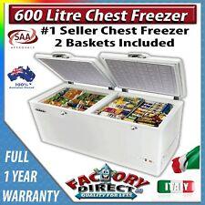 Adelchi 600 Litre 2-Door Commercial Chest Freezer Home Deep Freeze Lock Wheels