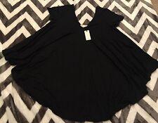 NEW Eri + Ali Anthropologie Women's Black Flowing Asymetrical Shirt Blouse XS
