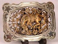 Rodeo Belt Buckle-Nickle Silver-Western Horse Bronco-Stamped Metal-Vintage