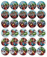 30 AVENGERS Edible Cupcake Toppers Wafer Paper Birthday Party Cake Decoration #1