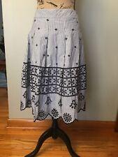 Talbots Eyelet Pleated Stripe Skirt 100% Cotton NWT White/Black Size 16$129