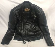 Harley Davidson Black Leather Jacket Size 40 Womens Patch Motorcycle Biker