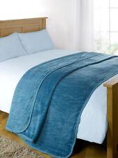 Luxury Faux Fur Mink Fleece Throw Over Sofa Bed Soft Warm Blanket, Teal Blue, 12