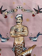 Alexander Henry Fabric Yard Rise & Shine Mermaid Merman Sailer Nautical Pink