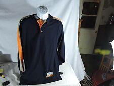 South Pole Long Sleeve Polo Shirt Blue Grey Orange Mens Medium