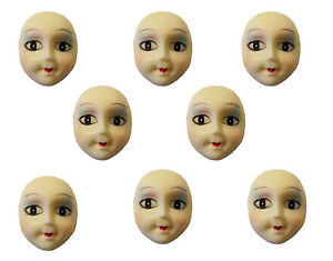 Lot of 8 Painted Poly Porcelain Lady Face Head for Craft Jewelry Cameo Brooch