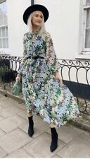 H&M Ladies Green Blue Floral Midi Dress Size Large Blogger Sold Out Everywhere