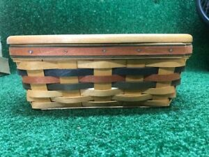 1998 Longaberger Tissue basket with wooden lid Collectible Wood Crafts Lid