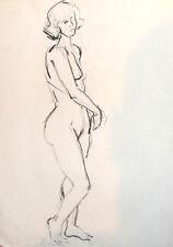 VINTAGE IMPRESSIONIST NUDE  FEMALE PORTRAIT PASTEL PAINTING