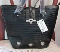 Langoon Leather Cathedral Zippered Bag Purse Tote Black New With Tag