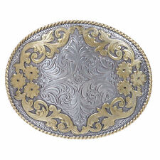 Western Engraved Oval Two Tone Floral Belt Buckle