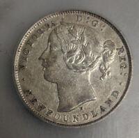 ICG - EF45 NEWFOUNDLAND Canada 1872-H Silver Twenty Cents Coin (M897)