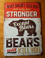 Rustic Vintage Bears Cabin Tin Sign Log Lodge Primitive Home Decor NEW