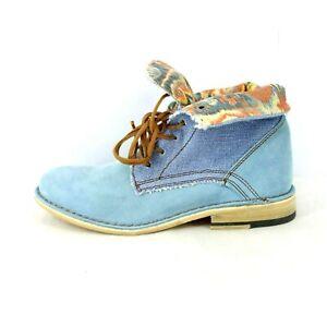 Nobrand Damen Schuhe Stiefelette Boots Modell Emil Blau Wildleder Np 109 Neu