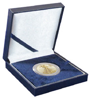 Blue Leatherette Box for H Size Airtite Coin Capsules Display Gift Guardhouse US