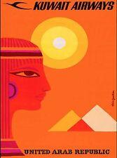 Kuwait Airlines United Arab Republic Arabian Travel Advertisement Poster 2