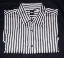 Hugo Boss Grey Black Striped Shirt (XL, Chest 42)