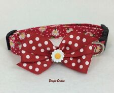 Red Dot Daisy Dog Collar With Bow Size XS-L by Doogie Couture