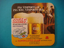 Beer Coaster ~*~ 1987 Air France Super Loto Club Prize <> STELLA ARTOIS Brewery