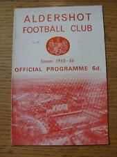 26/03/1966 Aldershot v Wrexham  (Small Pen Mark On Cover). Item In very good con