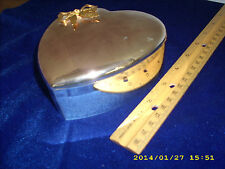 Vintage Antique silver & Gold Metal Jewelry Heart shaped box or organizer Japan