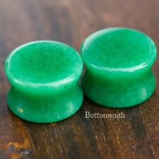 Pair of Green Jade Organic Stone Plugs gauges Double Flared - 3mm - 25m 13 sizes