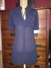 Anthropologie Ruffled Silk Tunic Top XS 2 Blue  Project Alabama