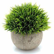 Plants  Decor Velener Mini Plastic Fake Green Grass of with Pots for Home