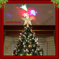 3D Glitter Star LED Light Christmas Tree Topper Lighted Projector Xmas Ornament