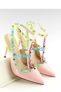 Catwalk Pink Rivet Cage Pointed T-bar Ankle Gladiator Party Shoes