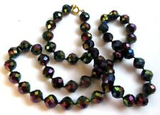 collier ancien bijou vintage perles résine borealis à facettes biseautées 5110