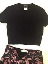 CHANEL black knit cropped top with modest center embroidered CC logo 40 US 8 10
