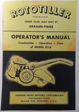 Rototiller Graham Paige B1-6 Tiller 1st ed 1946 Owner & 1949 Parts (2 Manual s)
