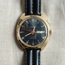 Soviet Russian Slava automatic 27 jeweles black dial day & date gold plated nice