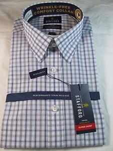 NWT STAFFORD PERFORMANCE SUPER DRESS SHIRT LONG SLEEVE BLUE BROWN PLAID Reg. Fit