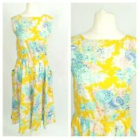 Unbranded Yellow Floral Vintage Kitsch 50s Fit & Flare Midi Dress Size 12
