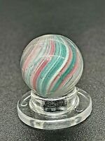 Antique Vintage German Green Pink Panelled Onionskin Swirl Handmade Marble 0.591