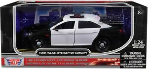 FORD POLICE CAR CONCEPT UNMARKED BLACK/WHITE 1:24 DIECAST MODEL MOTORMAX 76925