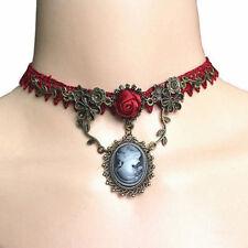 Vintage De Lujo Gótico Gargantilla Collar Colgante Elipse Flores de Encaje Ajust