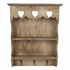 Rustic Farmhouse Wooden Wall Display Unit With Hooks and Hearts - Postage