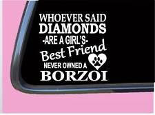 """Russian Borzoi Diamonds Tp 492 Sticker 6"""" Decal rescue dog"""