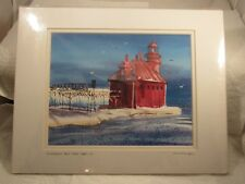 LOU McMURRAY WATERCOLOR PRINT SIGNED LIGHTHOUSE STURGEON BAY PIER LIGHT, WI (2)