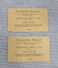 2 Grafton ND 1959 Mens Natl Curling Championship 2nd Place Team Ticket FREE SH
