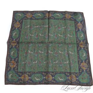 #1 MENSWEAR Drakes Made Italy Silk Wool Green Madder Blue Mughal Pocket Square
