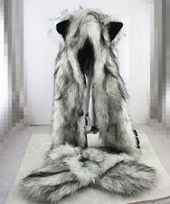 Wolf Full Hood Hoodie Fur Animal Hat Mittens Scarf  Pocket 3 IN 1 Hat