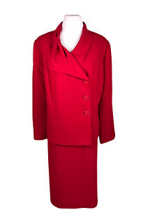 New LE SUIT 2PC Crimson Red Cocktail Polyester Skirt Suit Size 20W MSRP $200