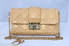 CHRISTIAN DIOR MISS PROMENADE PATENT BEIGE LEATHER HANDBAG CANNAGE CROSSBODY BAG