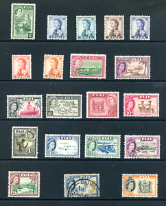 1954 Fiji Part Set -  Mint Hinged/Used 20 Stamps  CAT £62.00 ( Lot 1266 )